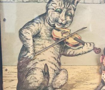 Antique Dancing Cats Musical Picture Automaton, c. 1890