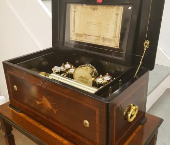 Antique Drum & Bell Music Box by Karrer, c. 1880