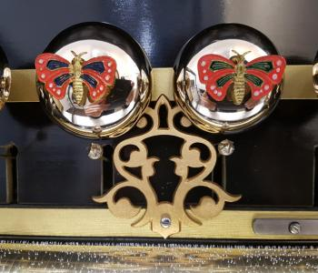 Antique Buffet-Style Music Box with Bells by Mojon Manger, c. 1890