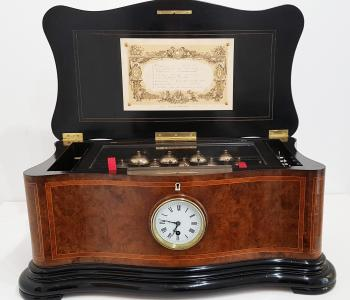 Antique 9 Bell Music Box with Clock by Paillard, c. 1880