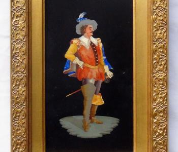 Antique Pietra Dura Plaque of a Musketeer