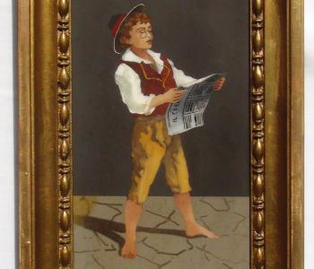 Antique Pietra Dura Plaque of a Boy Reading the Newspaper