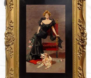 Antique Pietra Dura Plaque of a Lady, 1908