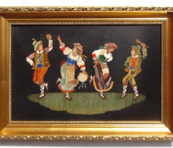 Antique Pietra Dura Plaque of a Group of Folk Dancers